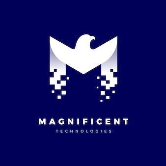 ピクセル化された文字 m のイーグル ロゴ テンプレート