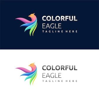 Орел логотип с красочной концепцией
