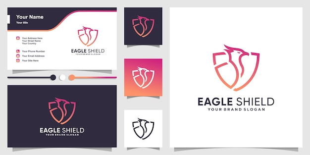 Логотип орла с креативной концепцией щита и шаблоном дизайна визитной карточки
