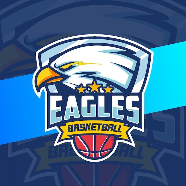 Eagle mascot basketball sport logo design