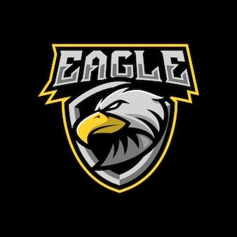 스포츠 또는 e- 스포츠 팀을위한 독수리 마스코트 로고 디자인 일러스트