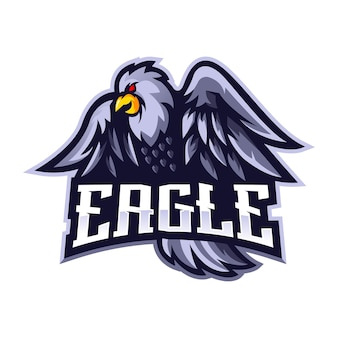 Eagle mascot logo design vector with modern illustration concept style for badge, emblem and t-shirt printing. white eagle for sport team