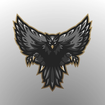 Eagle mascot logo design with modern illustration concept style for badge, emblem and t-shirt printing. black eagle for gaming