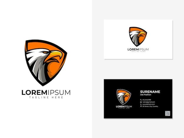 Eagle mascot shield and visit card