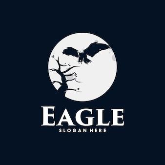 Eagle moon illustration logo design templates premium vector