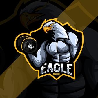 Eagle muscle mascot logo esport design template