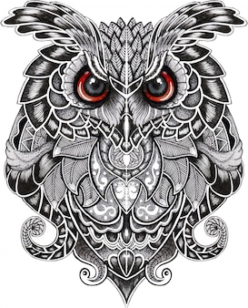 Eagle owl bird in doodle style