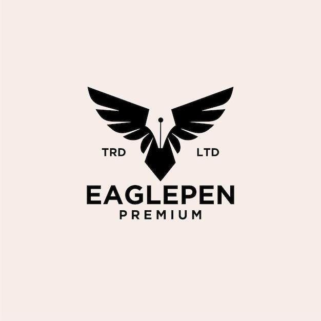 Eagle pen vintage logo icon