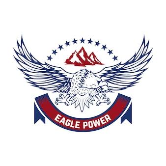 イーグルパワー。コンドルのエンブレム。ロゴ、ラベル、記号の要素。画像