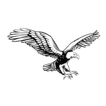イーグルレトロアイコン。略奪的な鳥のバッジ、白地に黒。自由サイン、イラスト。