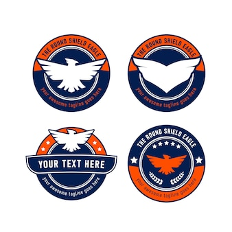 Eagle round shield logo set  emblem symbol