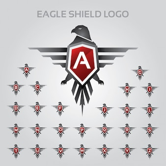 Eagle shield logo with alphabet letter set