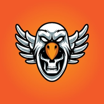 Eagle and skull e sport logo