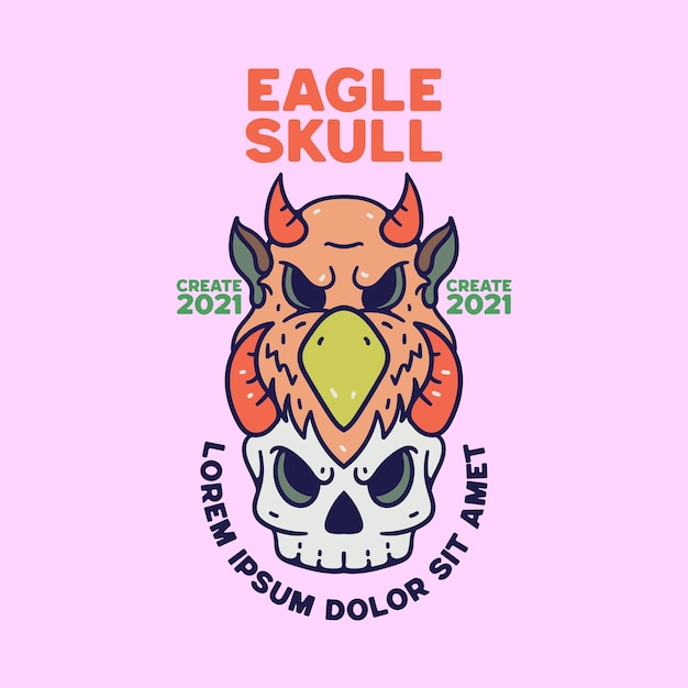 Eagle skull illustration vintage retro style for shirts