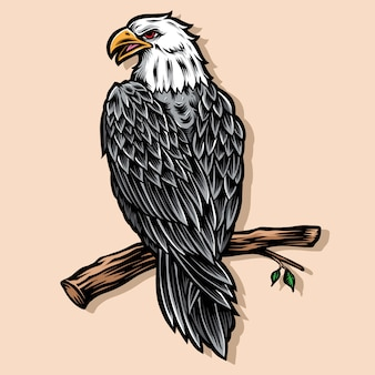 Eagle standing on branch vector