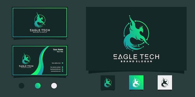 Дизайн логотипа eagle tech с крутыми градиентными цветами, концепция стиля circe и визитная карточка premium vekto