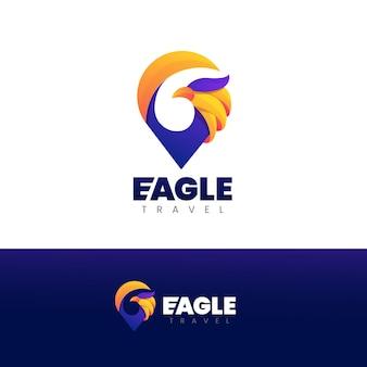 Eagle travel gradient logo template