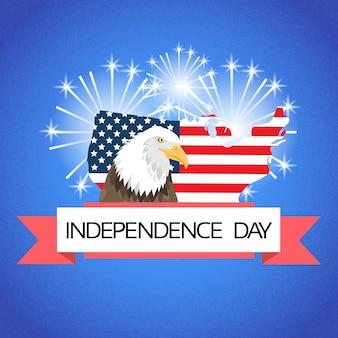 Eagle over united states of america map flag