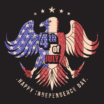Eagle usa flag 4th jully vector illustration