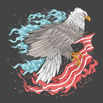 Eagle usa flag fire