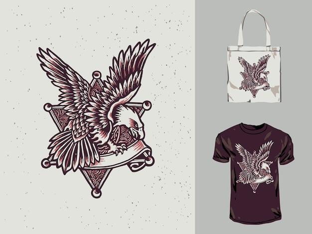 Полиция eagle vintage рисованной иллюстрации