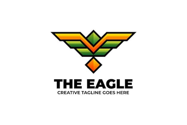 독수리 날개 상징 다채로운 로고