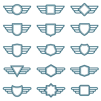 Eagle wings army vector badges. aviation wing labels. winged pilot emblems