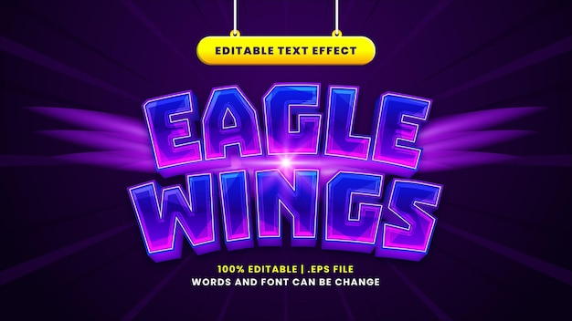 Eagle wings editable text effect in modern 3d style