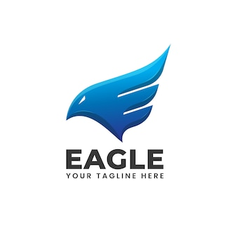 Eagle wings fire flame blue abstract modern shape logo