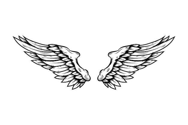 흰색 배경에 고립 된 문신 스타일에 독수리 날개. 포스터, 티셔츠, 카드, 상징, 기호, 배지 디자인 요소입니다. 벡터 일러스트 레이 션