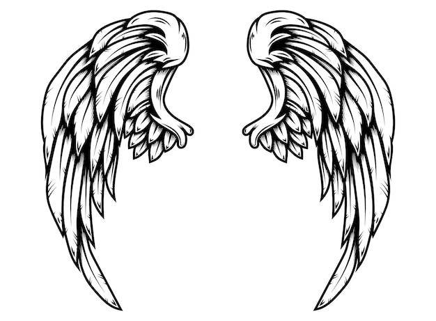 Eagle wings in tattoo style isolated on white background. design element for poster, t shirt, card, emblem, sign, badge. vector illustration