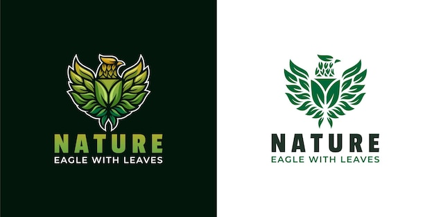Eagle wings with shield leaves logo design