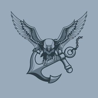 Eagle with anchor in claws