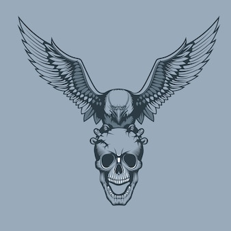 Eagle with a skull in claws