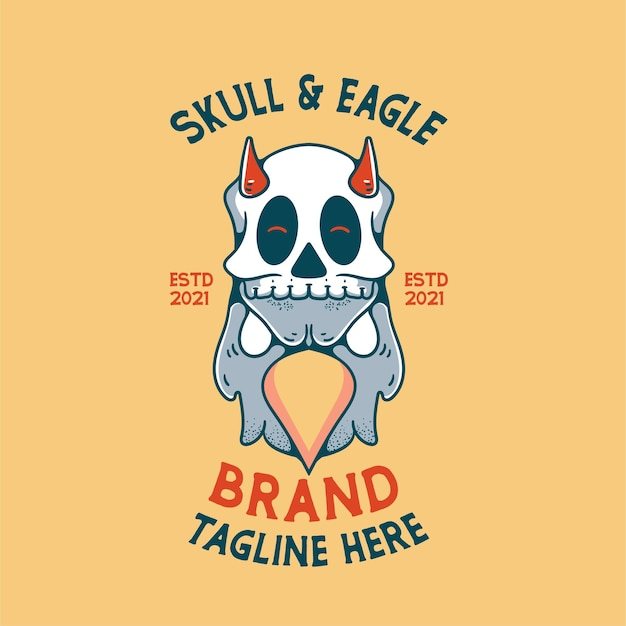 Орел с изображением черепа персонаж винтажный дизайн для футболок