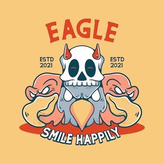 Eagle with skull illustration character vintage design for t shirts