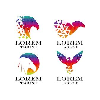 Коллекция многоцветного логотипа eagle