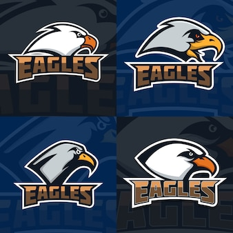 Eagles. set of emblem template with eagle head. sport team mascot.  illustration