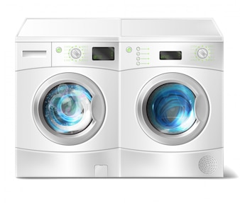 Ealistic illustration of white front-load washer with dirty laundry inside and dryer