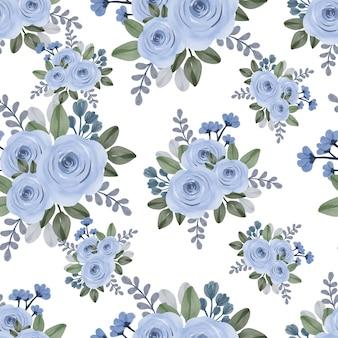 青いバラの花束のeamlessパターン