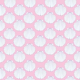 Eamless pattern of seashells, marine .