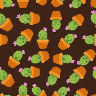 냄비에 재미있는 얼굴을 가진 귀여운 카와이 선인장과 다육식물이 있는 eamless 패턴
