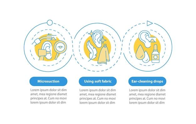 Вектор инфографики шаблон методов ухода за ушами. используя мягкую ткань, сбрасывает элементы оформления презентации. визуализация данных в 3 шага. график процесса. макет рабочего процесса с линейными значками