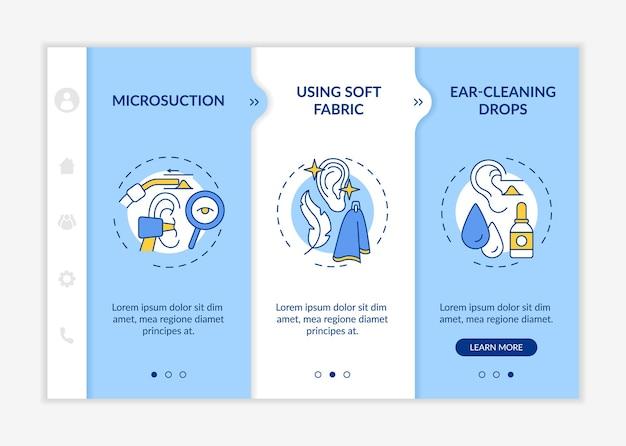 귀 청결 방법 온보딩 벡터 템플릿입니다. 아이콘이 있는 반응형 모바일 웹사이트입니다. 웹 페이지 연습 3단계 화면. 귀 청소 방울, 선형 삽화가 있는 관개 색상 개념