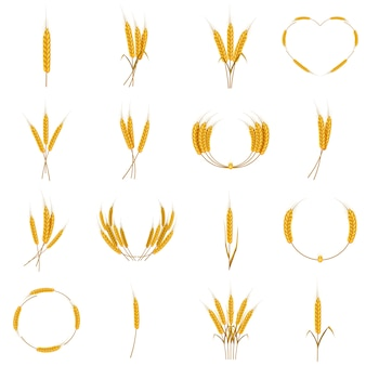Ear corn food icons set, cartoon style