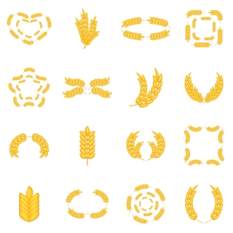 Ear corn icons set