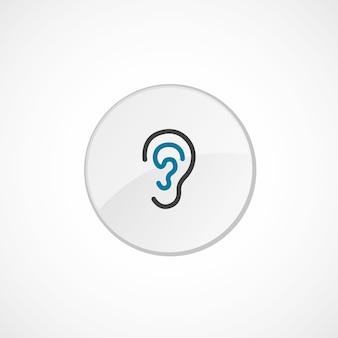 귀 아이콘 2 색, 회색 및 파란색, 원형 배지