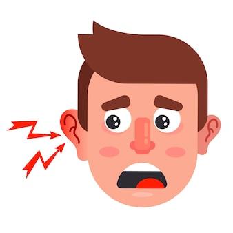 남자의 귀 염증. 인간의 심각한 중이염. 평면 벡터 일러스트 레이 션.