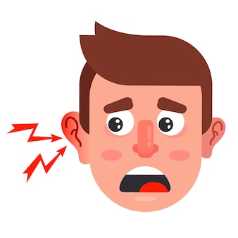 Ear inflammation in a man. severe otitis media in humans. flat vector illustration.