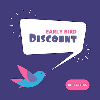Early bird discount. special offer sale banner. early birds retail concept.
